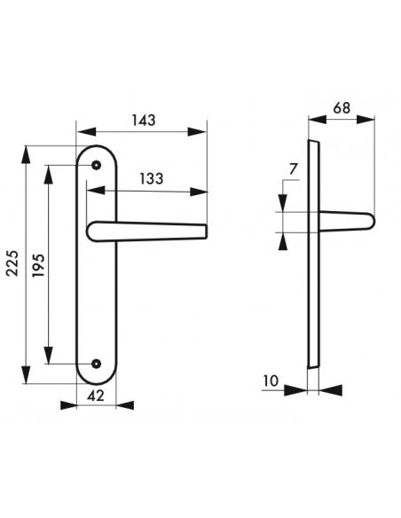 Ensemble de poignées pour porte intérieure Ouranus sans trou, carré 7mm, entr'axes 195mm, inox brossé - THIRARD Poignée