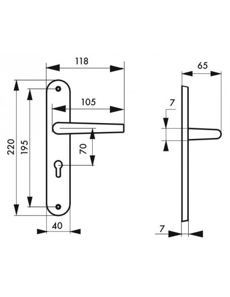 Ensemble de poignées pour porte d'entrée Maia trou de cylindre, carré 7mm, entr'axes 195mm, couleur F2 - THIRARD Poignée