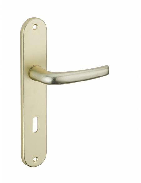 Ensemble de poignées pour porte intérieure Maia trou de clé, carré 7mm, entr'axes 195mm, champagne - THIRARD Poignée