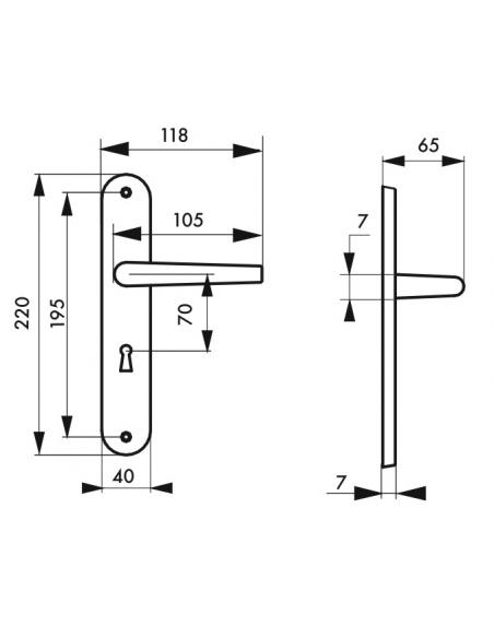 Ensemble de poignées pour porte intérieure Maia trou de clé, carré 7mm, entr'axes 195mm, argent - THIRARD Poignée