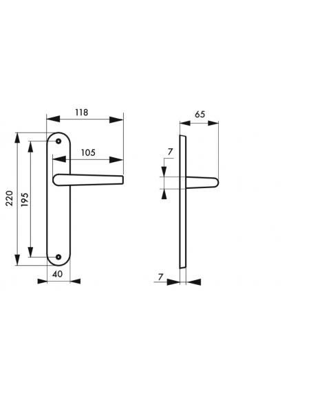 Ensemble de poignées pour porte intérieure Maia sans trou, carré 7mm, entr'axes 195mm, argent - THIRARD Poignée