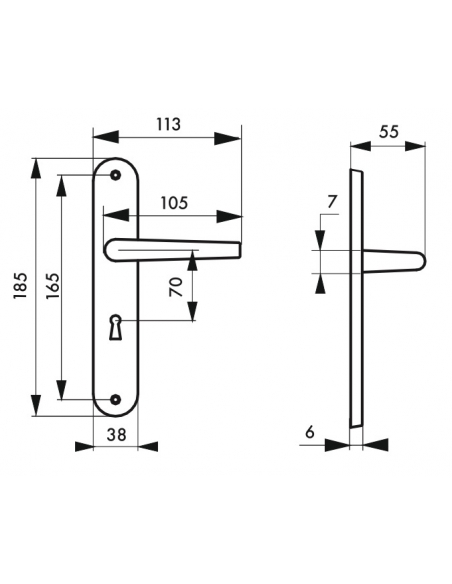 Ensemble de poignées pour porte intérieure Leto trou de clé, carré 7mm, entr'axes 165mm, champagne - THIRARD Poignée