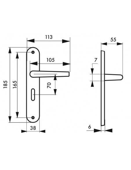 Ensemble de poignées pour porte intérieure Leto à condamnation, carré 7mm, entr'axes 165mm, couleur F2 - THIRARD Poignée