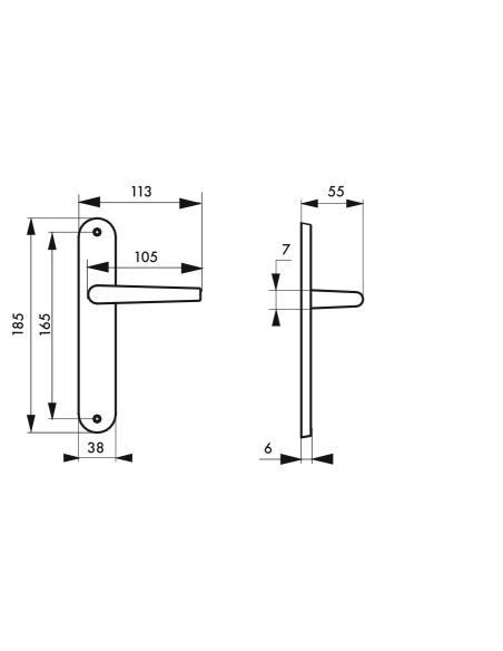 Ensemble de poignées pour porte intérieure Leto sans trou, carré 7mm, entr'axes 165mm, argent - THIRARD Poignée