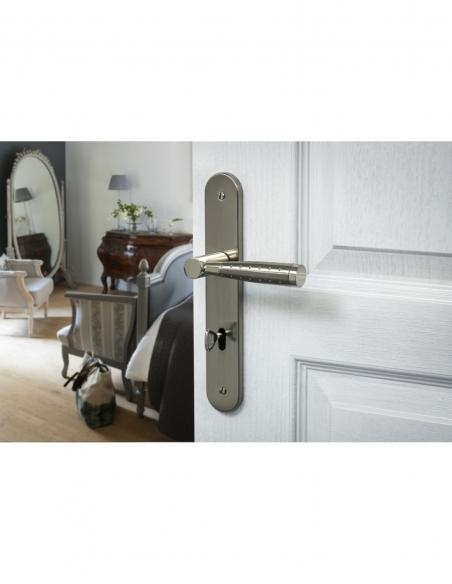 Ensemble de poignées pour porte intérieure Helios trou de clé, carré 7mm, entr'axes 195mm, nickelé brossé - THIRARD Poignée
