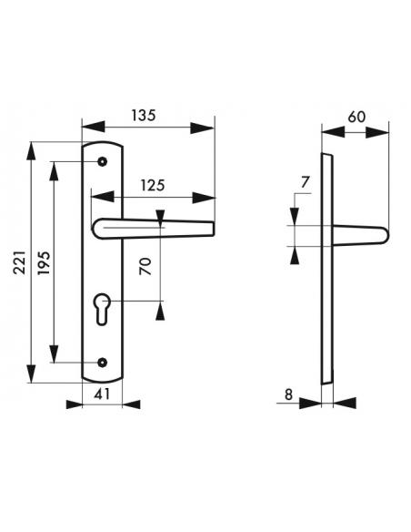 Ensemble de poignées pour porte d'entrée Gaia trou de cylindre, carré 7mm, entr'axes 195mm, nickelé brossé - THIRARD Poignée