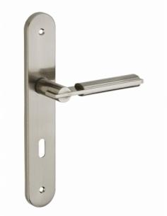 Ensemble de poignées pour porte de chambre Gaia trou de clé, carré 7mm, entr'axes 195mm, nickelé brossé - THIRARD Poignée