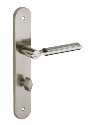 Ensemble de poignées pour salle de bain et toilette Gaia à condamnation, carré 7mm, entr'axes 195mm, nickelé brossé - THIRARD...