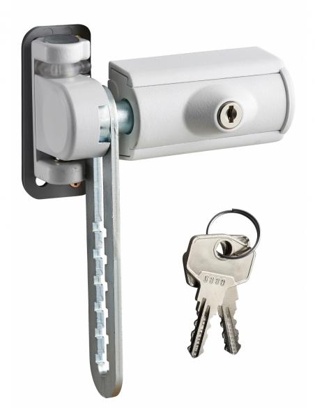 Entrebailleur à clé pour fenêtre 1 vantail, pêne acier, 110x167mm, laqué blanc, 2 clés - THIRARD Equipement