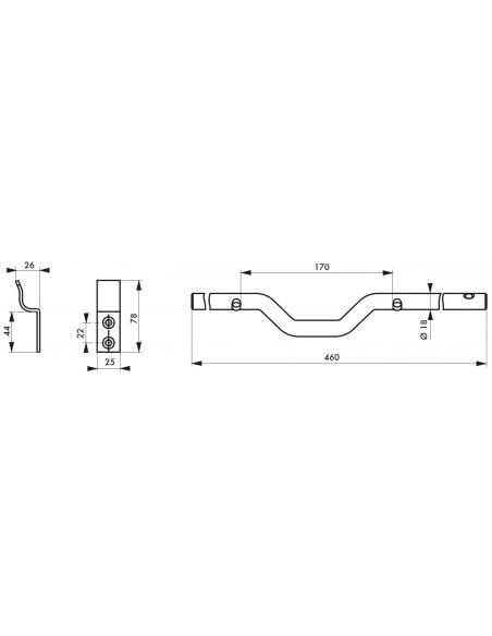 Barre de sécurité pour volet bois, acier, Ø18x460mm, zingué noir - THIRARD Equipement