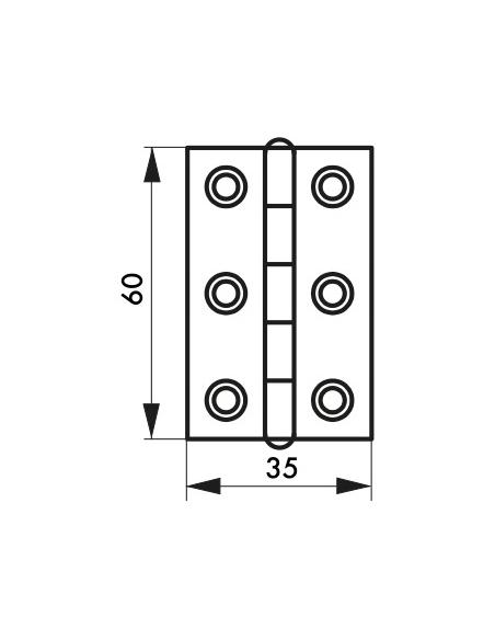 Charnière de porte, 60x35mm, laiton - THIRARD Equipement
