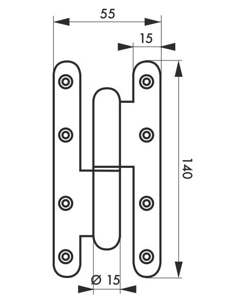 Charnière de porte d'entrée/intérieure, 140x55mm, acier, gauche - THIRARD Equipement