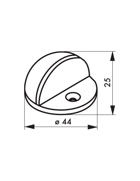 Butoir à visser, fixation au sol, 1/2 boule, Ø44x25mm, satiné - THIRARD Equipement
