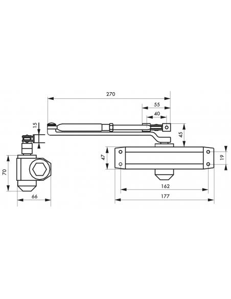 Ferme-porte automatique hydraulique force 3, argent - THIRARD Equipement