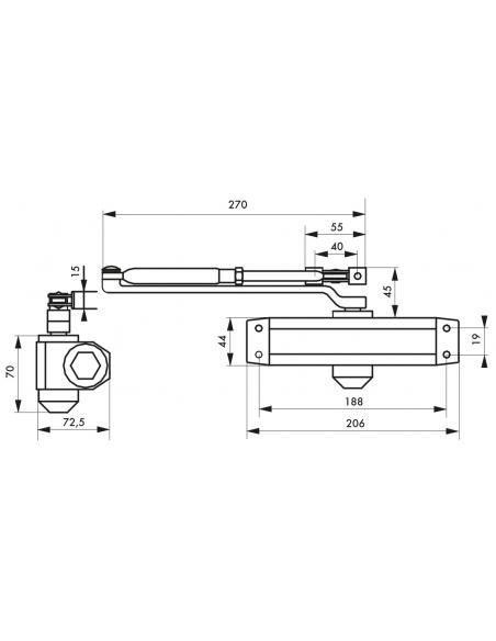 Ferme-porte automatique hydraulique force 4, argent - THIRARD Equipement