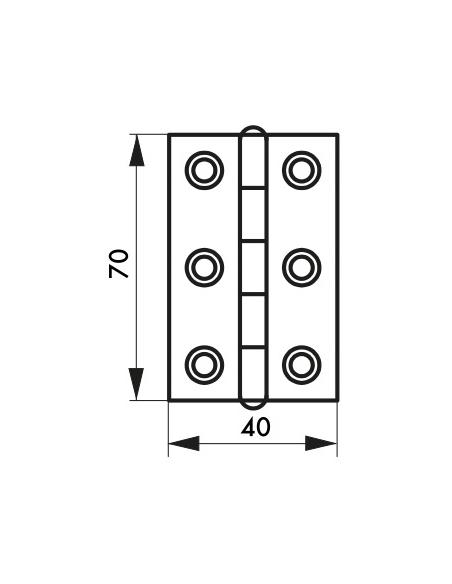 Charnière de porte, 70x40mm, laiton - THIRARD Equipement