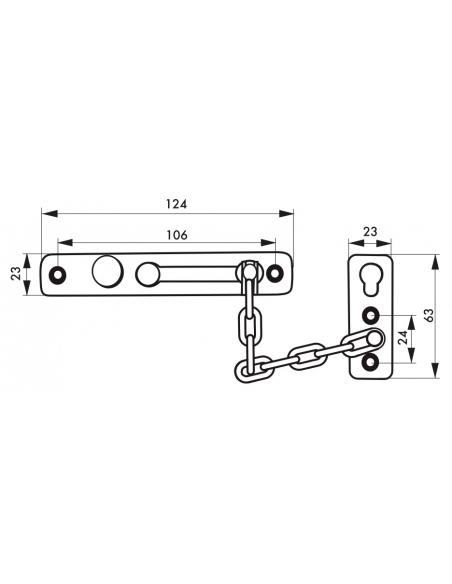 Entrebailleur de porte, chaîne acier, chromé - THIRARD Equipement
