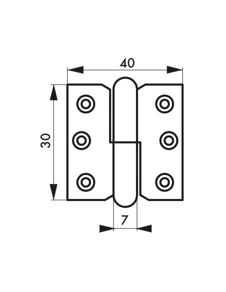 Charnière de porte intérieure, 30x40mm, acier, droite - THIRARD Equipement