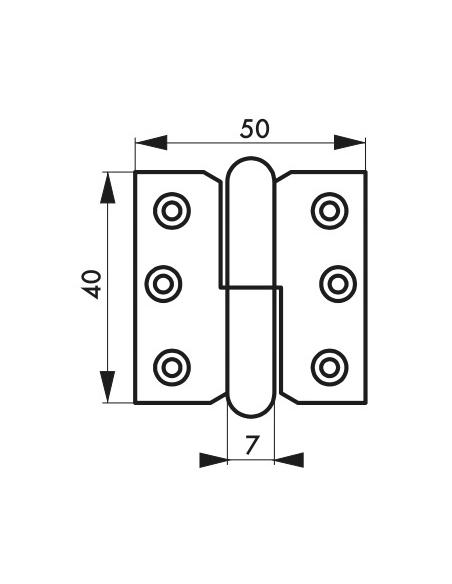 Charnière de porte intérieure, 40x50mm, acier, droite - THIRARD Equipement