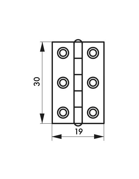 Charnière de porte, 30x19mm, laiton - THIRARD Equipement