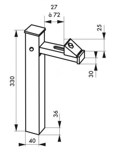 Arrêt de porte à sceller, aluminium, 330mm, argent - THIRARD Equipement