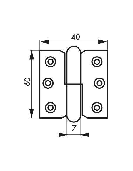 Charnière de porte d'entrée/intérieure, 60x40mm, acier, gauche - THIRARD Equipement