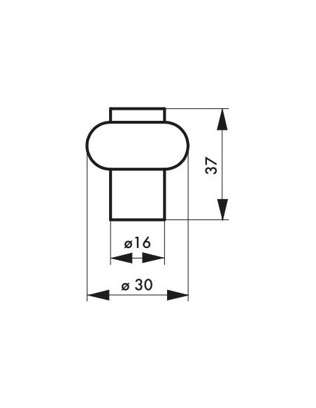 Butoir à visser, fixation au sol, caoutchouc, Ø30x37mm, laiton - THIRARD Equipement
