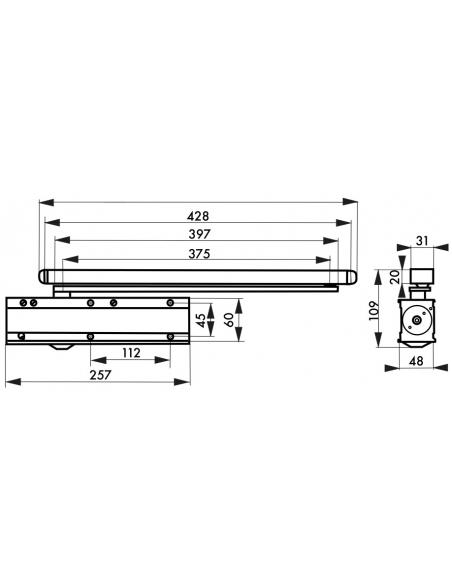 Ferme-porte automatique à came, acier, noir - THIRARD Equipement