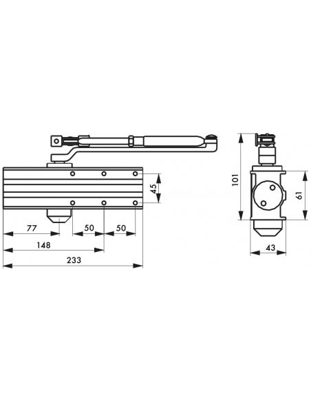 Ferme-porte automatique hydraulique Design force 3, bras coulissant, argent - THIRARD Equipement