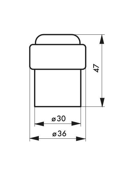 Butoir à visser, fixation au sol, aluminium, Ø38x34,5mm, chromé - THIRARD Equipement