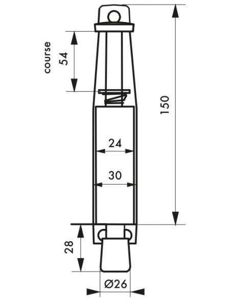 Arrêt de porte, frein caoutchouc, 150mm, laqué blanc - THIRARD Equipement