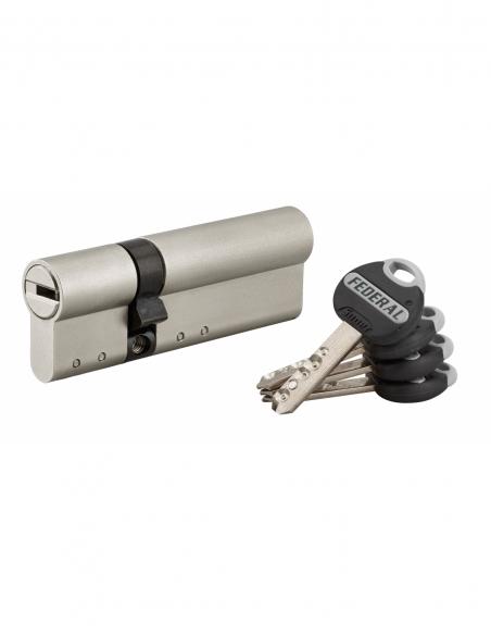Cylindre de serrure double entrée Federal 2, 30x60mm, nickel, anti-arrachement, anti-perçage, 4 clés - THIRARD Cylindre de se...