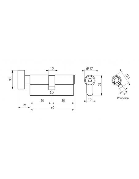 Cylindre de serrure à bouton Federal 2, 30Bx30mm, nickel, anti-arrachement, anti-perçage, 4 clés - THIRARD Cylindre de serrure