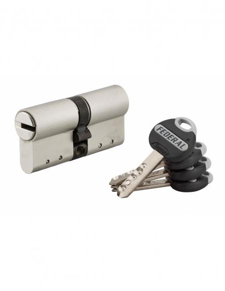 Cylindre de serrure double entrée Federal 2, 30x30mm, nickel, anti-arrachement, anti-perçage, 4 clés - THIRARD Cylindre de se...