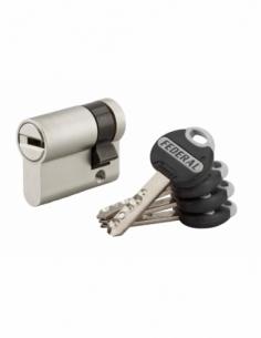 Demi-cylindre de serrure Federal 2, 30x10mm, nickel, anti-arrachement, anti-perçage, 4 clés - THIRARD Cylindre de serrure