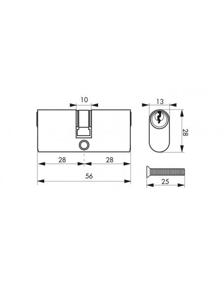 Cylindre de serrure double entrée Ovale, 28x28mm, laiton, anti-arrachement, 3 clés - THIRARD Cylindre de serrure