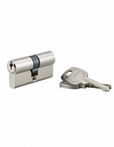 Cylindre de serrure double entrée, 30x30mm, anti-arrachement, 3 clés, nickel - THIRARD Cylindre de serrure
