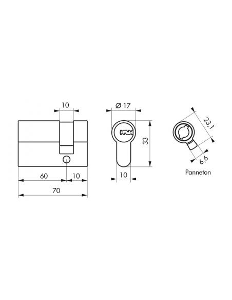 Demi-cylindre de serrure Trafic 12, 60x10mm, nickel, anti-arrachement, anti-perçage, anti-casse, 5 clés - THIRARD Cylindre de...