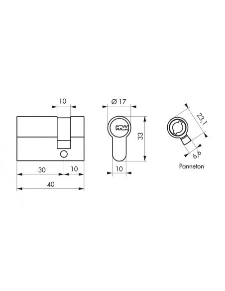 Demi-cylindre de serrure Trafic 12, 30x10mm, nickel, anti-arrachement, anti-perçage, anti-casse, 5 clés - THIRARD Cylindre de...