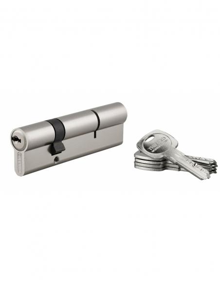 Cylindre de serrure double entrée Trafic 6, 30x70mm, nickel, anti-arrachement, anti-perçage, 5 clés - THIRARD Cylindre de ser...