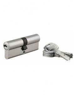 Cylindre de serrure double entrée Trafic 6, 40x40mm, anti-arrachement, anti-perçage, nickel, 5 clés - THIRARD Cylindre de ser...