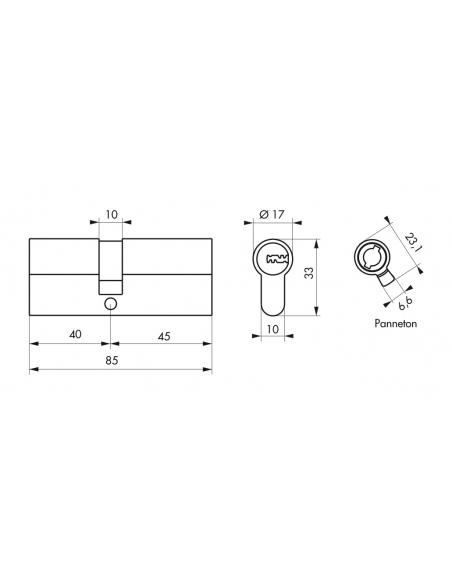 Cylindre de serrure double entrée Trafic 6, 40x45mm, nickel, anti-arrachement, anti-perçage, 5 clés - THIRARD Cylindre de ser...