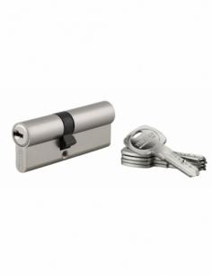 Cylindre de serrure double entrée Trafic 6, 35x45mm, nickel, anti-arrachement, anti-perçage, 5 clés - THIRARD Cylindre de ser...