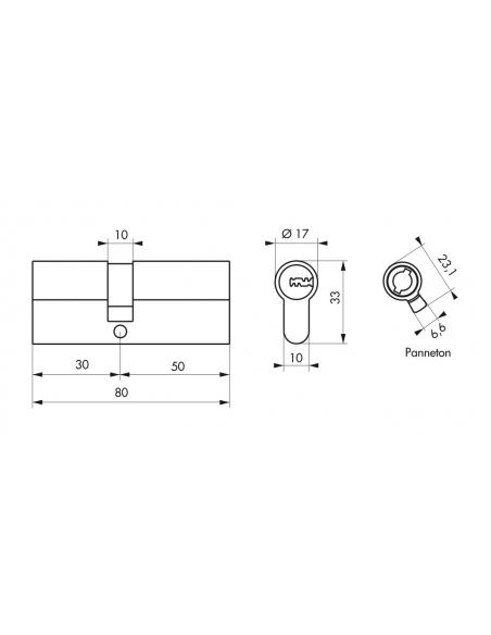 Cylindre de serrure double entrée Trafic 6, 30x50mm, nickel, anti-arrachement, anti-perçage, 5 clés - THIRARD Cylindre de ser...