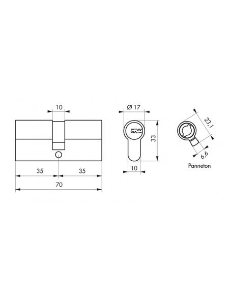 Cylindre de serrure double entrée Trafic 6, 35x35mm, anti-arrachement, anti-perçage, nickel, 5 clés - THIRARD Cylindre de ser...