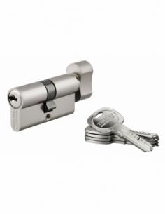 Cylindre de serrure à bouton Trafic 6, 30Bx30mm, nickel, anti-arrachement, anti-perçage, 5 clés - THIRARD Cylindre de serrure