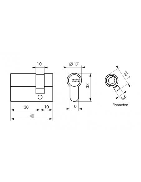 Demi-cylindre de serrure Trafic 6, 30x10mm, anti-arrachement, anti-perçage, nickel, 5 clés - THIRARD Cylindre de serrure