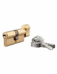 Cylindre de serrure à bouton Trafic 6, 30Bx30mm, laiton, anti-arrachement, anti-perçage, 5 clés - THIRARD Cylindre de serrure