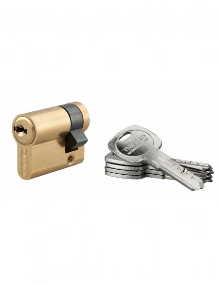 Demi-cylindre de serrure Trafic 6, 30x10mm, anti-arrachement, anti-perçage, laiton, 5 clés - THIRARD Cylindre de serrure