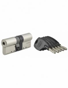 Cylindre de serrure double entrée Cobra 2+, 33x43mm, nickel, anti-crochetage, anti-perçage, anti-casse, 4 clés - THIRARD Cyli...